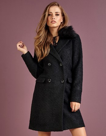Double Breasted Coat With Fur Collar - pattern: plain; style: double breasted; length: mid thigh; predominant colour: black; occasions: casual; fit: tailored/fitted; fibres: polyester/polyamide - mix; sleeve length: long sleeve; sleeve style: standard; collar: fur; collar break: medium; pattern type: fabric; texture group: woven bulky/heavy; season: a/w 2016