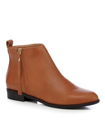 Shoes Side Zip Flat Ankle - predominant colour: tan; occasions: casual; material: faux leather; heel height: flat; heel: standard; toe: round toe; boot length: ankle boot; style: standard; finish: plain; pattern: plain; season: a/w 2016; wardrobe: highlight