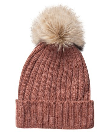 Beanie - occasions: casual; type of pattern: standard; style: bobble; size: standard; material: knits; pattern: plain; predominant colour: dusky pink; embellishment: bobble; season: a/w 2016; wardrobe: highlight