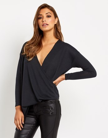 Wrap Over Jumper - neckline: low v-neck; pattern: plain; style: faux wrap/wrap; predominant colour: navy; occasions: casual; length: standard; fibres: polyester/polyamide - stretch; fit: standard fit; sleeve length: long sleeve; sleeve style: standard; texture group: knits/crochet; pattern type: knitted - fine stitch; wardrobe: basic; season: a/w 2016