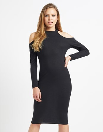 Ribbed Cold Shoulder Midi Dress - length: below the knee; fit: tight; pattern: plain; neckline: high neck; style: bodycon; hip detail: fitted at hip; predominant colour: black; occasions: evening; fibres: polyester/polyamide - stretch; shoulder detail: cut out shoulder; sleeve length: long sleeve; sleeve style: standard; texture group: jersey - clingy; pattern type: fabric; season: a/w 2016; wardrobe: event
