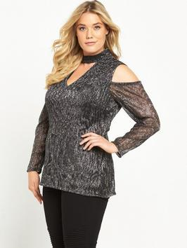 Metallic Crinkle Cold Shoulder Top - neckline: v-neck; pattern: plain; occasions: evening; length: standard; style: top; fibres: polyester/polyamide - 100%; fit: body skimming; shoulder detail: cut out shoulder; sleeve length: long sleeve; sleeve style: standard; pattern type: fabric; texture group: jersey - stretchy/drapey; predominant colour: pewter; season: a/w 2016; wardrobe: event; trends: metallics