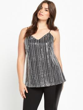 Multi Sequin Cami - neckline: low v-neck; sleeve style: spaghetti straps; pattern: plain; style: camisole; predominant colour: silver; occasions: evening; length: standard; fibres: polyester/polyamide - 100%; fit: loose; sleeve length: sleeveless; pattern type: fabric; texture group: jersey - stretchy/drapey; embellishment: sequins; season: a/w 2016; wardrobe: event; trends: metallics