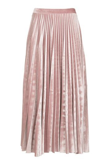 Tall Velvet Pleated Midi Skirt - pattern: plain; fit: loose/voluminous; style: pleated; waist: mid/regular rise; predominant colour: blush; occasions: evening, creative work; length: on the knee; fibres: polyester/polyamide - stretch; pattern type: fabric; texture group: velvet/fabrics with pile; season: a/w 2016; wardrobe: highlight; trends: velvet