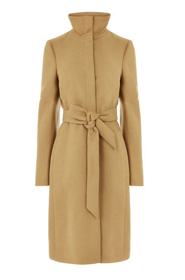 Clean Funnel Belted Coat - pattern: plain; collar: funnel; style: single breasted; length: on the knee; predominant colour: camel; occasions: casual; fit: tailored/fitted; fibres: polyester/polyamide - mix; waist detail: belted waist/tie at waist/drawstring; sleeve length: long sleeve; sleeve style: standard; texture group: knits/crochet; collar break: high; pattern type: knitted - other; season: a/w 2016