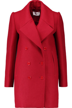 Double Breasted Wool Blend Twill Coat Red - pattern: plain; collar: wide lapels; style: double breasted; length: mid thigh; predominant colour: true red; occasions: work, creative work; fit: tailored/fitted; fibres: wool - mix; sleeve length: long sleeve; sleeve style: standard; collar break: high; pattern type: fabric; texture group: woven bulky/heavy; season: a/w 2016; wardrobe: highlight