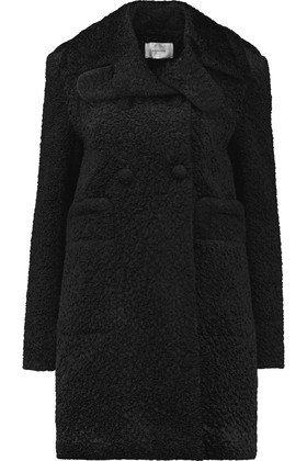Double Breasted Padded Faux Shearling Coat Black - pattern: plain; collar: wide lapels; style: double breasted; fit: slim fit; length: mid thigh; predominant colour: black; occasions: work, creative work; fibres: polyester/polyamide - mix; sleeve length: long sleeve; sleeve style: standard; collar break: medium; pattern type: fabric; texture group: woven bulky/heavy; season: a/w 2016