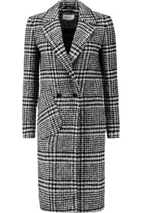 Checked Wool Blend Coat Black - pattern: checked/gingham; style: double breasted; collar: standard lapel/rever collar; predominant colour: black; occasions: work; fit: tailored/fitted; fibres: wool - mix; length: below the knee; sleeve length: long sleeve; sleeve style: standard; collar break: medium; pattern type: fabric; texture group: woven bulky/heavy; pattern size: big & busy (top); season: a/w 2016; wardrobe: highlight
