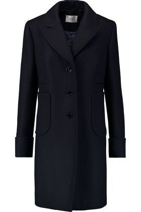Wool Blend Felt Coat Midnight Blue - pattern: plain; style: single breasted; length: on the knee; collar: standard lapel/rever collar; predominant colour: navy; occasions: casual, work, creative work; fit: straight cut (boxy); fibres: wool - mix; sleeve length: long sleeve; sleeve style: standard; collar break: medium; pattern type: fabric; texture group: woven bulky/heavy; wardrobe: basic; season: a/w 2016