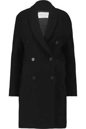 Woven Wool Blend Coat Black - pattern: plain; collar: shawl/waterfall; style: double breasted; length: mid thigh; predominant colour: black; occasions: work, creative work; fit: straight cut (boxy); fibres: cotton - mix; sleeve length: long sleeve; sleeve style: standard; collar break: medium; pattern type: fabric; texture group: woven bulky/heavy; wardrobe: investment; season: a/w 2016