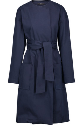 Cotton Blend Trench Coat Navy - pattern: plain; style: double breasted; collar: standard lapel/rever collar; length: mid thigh; predominant colour: navy; occasions: casual, creative work; fit: tailored/fitted; fibres: cotton - mix; waist detail: belted waist/tie at waist/drawstring; sleeve length: long sleeve; sleeve style: standard; collar break: high; pattern type: fabric; pattern size: standard; texture group: woven light midweight; wardrobe: basic; season: a/w 2016