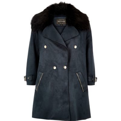 Womens Navy Faux Fur Trim Double Breasted Coat - pattern: plain; collar: wide lapels; style: double breasted; fit: slim fit; length: mid thigh; predominant colour: navy; occasions: casual, work, creative work; fibres: polyester/polyamide - 100%; sleeve length: long sleeve; sleeve style: standard; collar break: medium; pattern type: fabric; texture group: suede; season: a/w 2016