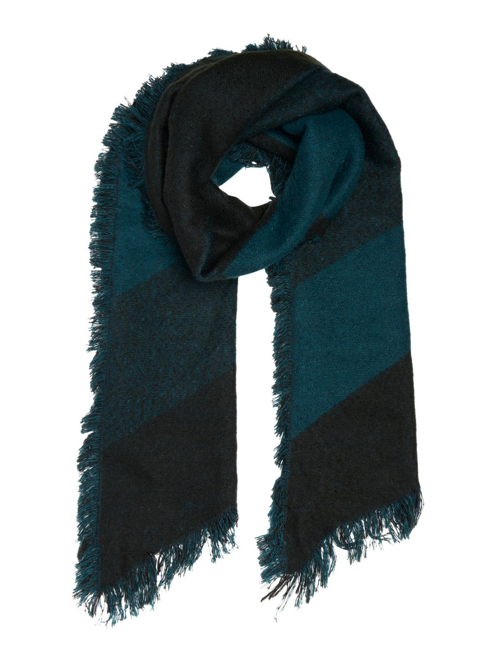 Prism Woven Scarf, Teal - predominant colour: teal; secondary colour: black; occasions: casual; type of pattern: standard; style: regular; size: standard; material: fabric; embellishment: fringing; pattern: striped; multicoloured: multicoloured; season: a/w 2016; wardrobe: highlight