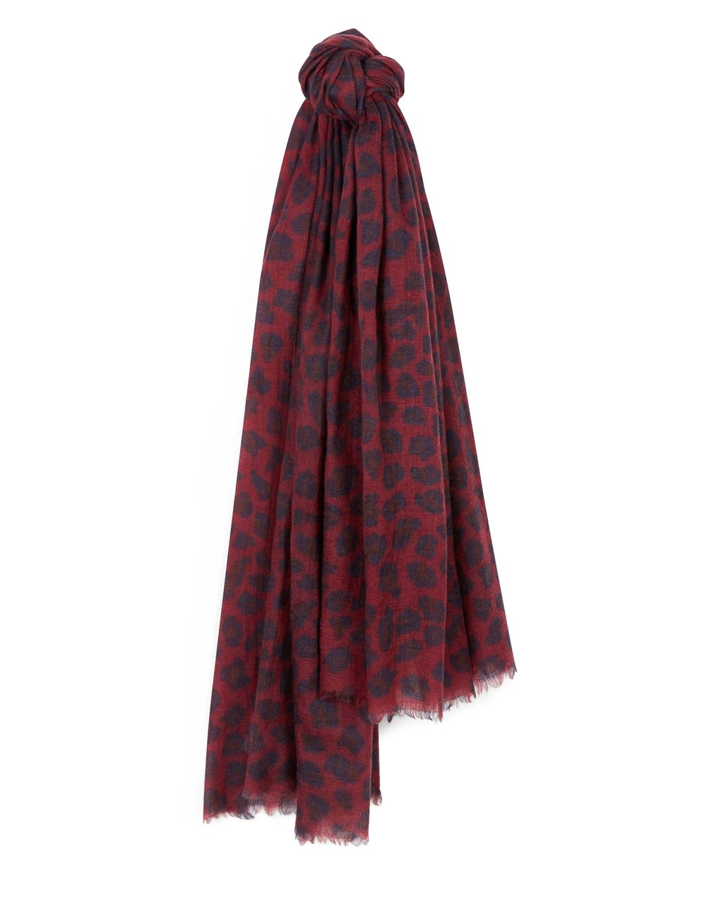 Wool Silk Leopard Print Scarf, Red - predominant colour: burgundy; secondary colour: navy; occasions: casual; type of pattern: heavy; style: regular; size: large; material: silk; pattern: animal print; multicoloured: multicoloured; season: a/w 2016; wardrobe: highlight