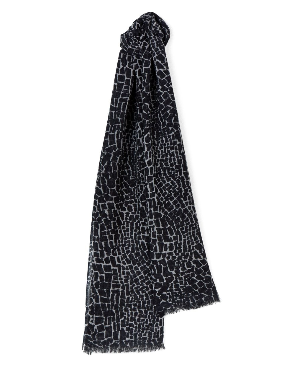 Wool Silk Crackle Print Scarf, Grey - secondary colour: mid grey; predominant colour: black; occasions: casual; type of pattern: standard; style: regular; size: standard; material: fabric; pattern: patterned/print; multicoloured: multicoloured; season: a/w 2016; wardrobe: highlight