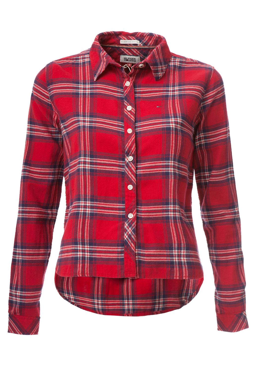 Thdw Basic Flannel Check Shirt, Red - neckline: shirt collar/peter pan/zip with opening; pattern: checked/gingham; length: below the bottom; style: shirt; predominant colour: true red; secondary colour: navy; occasions: casual, creative work; fibres: cotton - 100%; fit: straight cut; sleeve length: long sleeve; sleeve style: standard; texture group: cotton feel fabrics; pattern type: fabric; multicoloured: multicoloured; season: a/w 2016; wardrobe: highlight