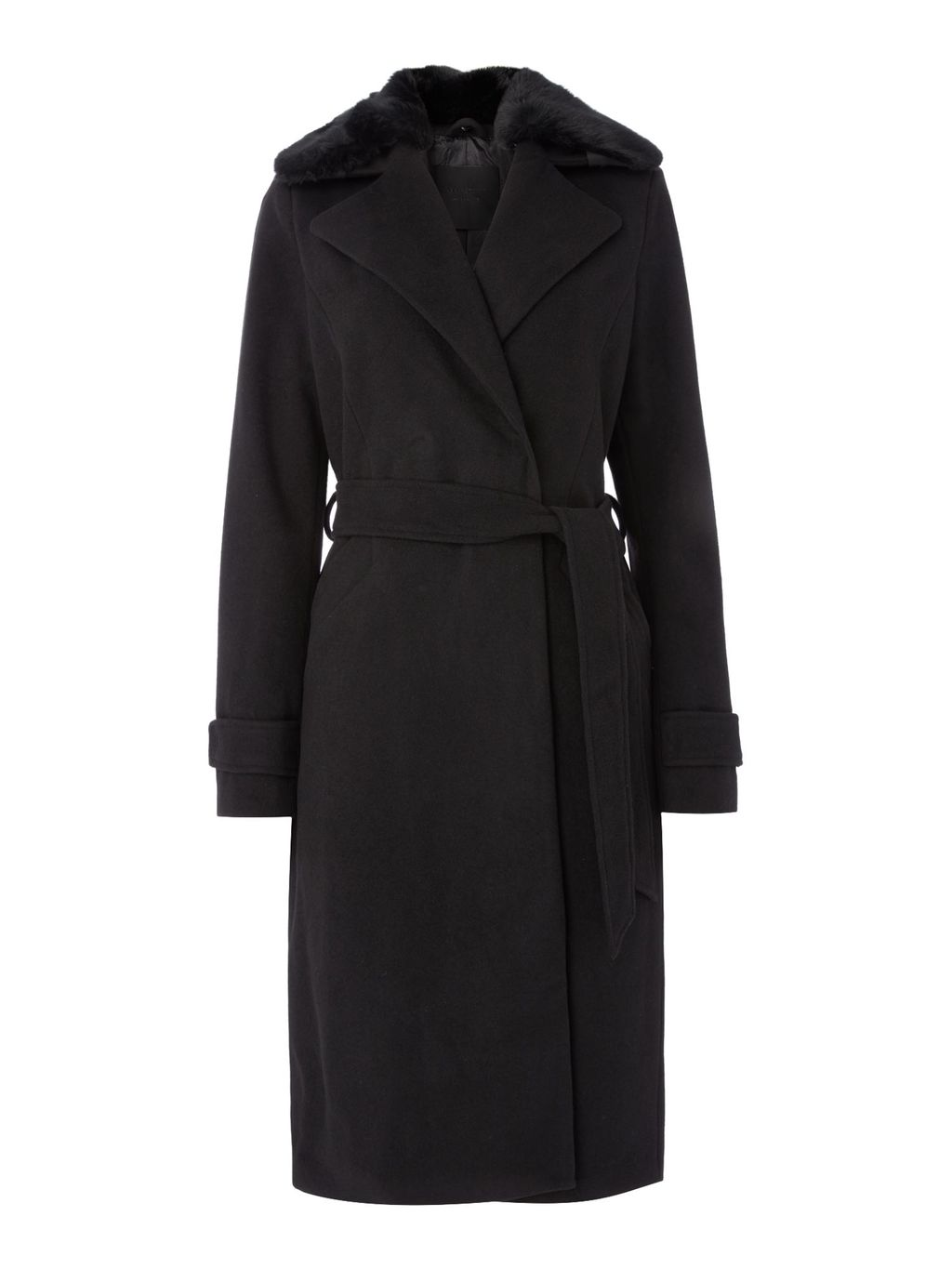 Long Wool Coat, Black - pattern: plain; style: wrap around; fit: slim fit; predominant colour: black; occasions: casual; length: ankle length; fibres: wool - 100%; waist detail: belted waist/tie at waist/drawstring; sleeve length: long sleeve; sleeve style: standard; collar: fur; collar break: medium; pattern type: fabric; texture group: woven bulky/heavy; embellishment: fur; season: a/w 2016; wardrobe: highlight
