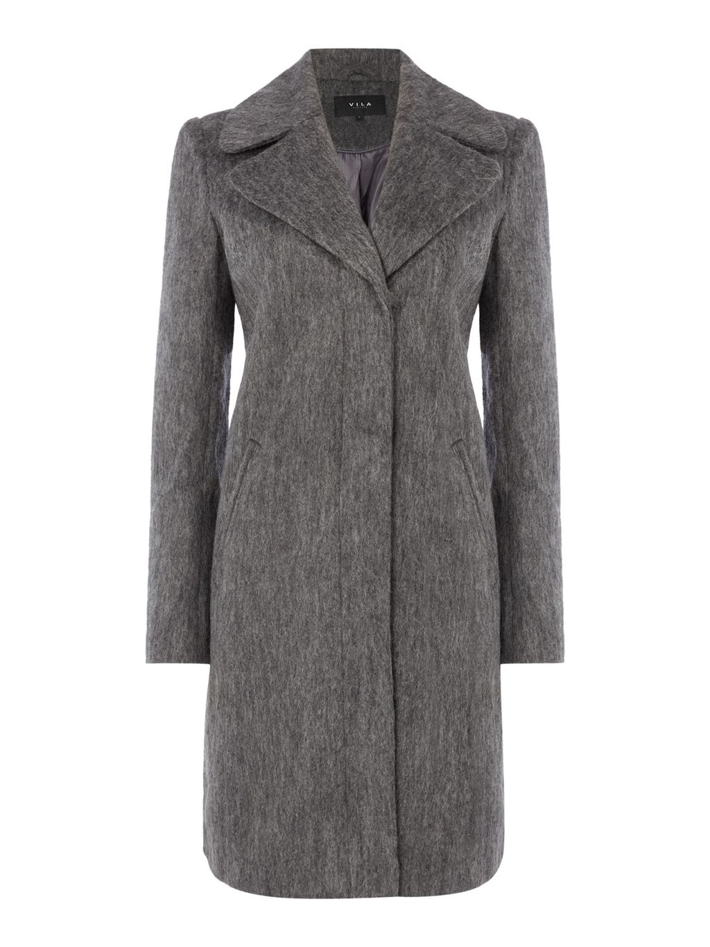 Long Sleeve Coat, Grey - pattern: plain; style: single breasted; length: on the knee; collar: standard lapel/rever collar; predominant colour: mid grey; occasions: work, creative work; fit: tailored/fitted; fibres: polyester/polyamide - 100%; sleeve length: long sleeve; sleeve style: standard; collar break: medium; pattern type: fabric; pattern size: standard; texture group: woven bulky/heavy; wardrobe: investment; season: a/w 2016