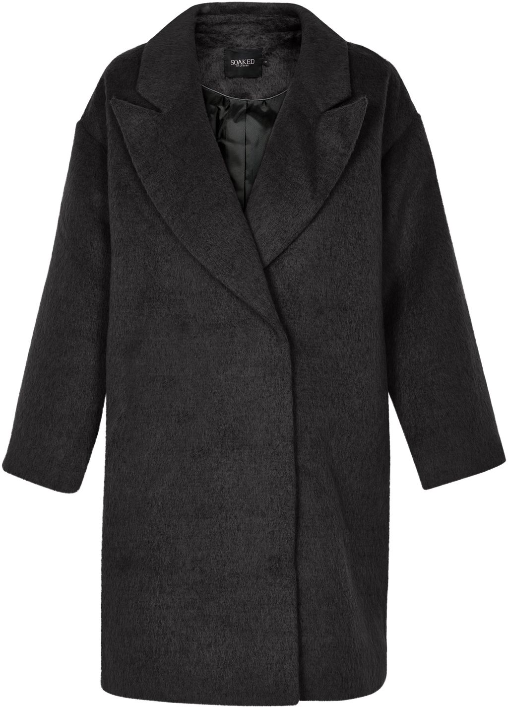 Oversized Coat, Black - pattern: plain; fit: loose; style: single breasted; collar: standard lapel/rever collar; length: mid thigh; predominant colour: black; occasions: casual, creative work; fibres: wool - mix; sleeve length: long sleeve; sleeve style: standard; collar break: medium; pattern type: fabric; texture group: woven bulky/heavy; wardrobe: basic; season: a/w 2016; trends: oversized outerwear