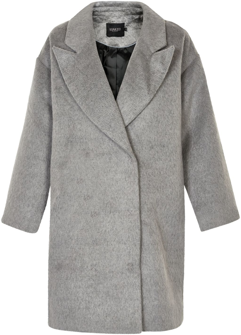 Oversized Coat, Grey - pattern: plain; fit: loose; style: single breasted; collar: standard lapel/rever collar; length: mid thigh; predominant colour: light grey; occasions: casual, creative work; fibres: wool - mix; sleeve length: long sleeve; sleeve style: standard; collar break: medium; pattern type: fabric; texture group: woven bulky/heavy; wardrobe: basic; season: a/w 2016