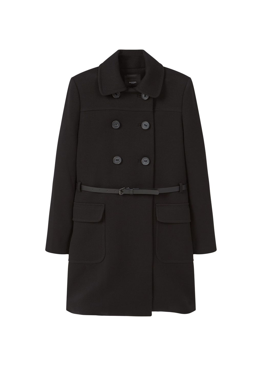 Double Breasted Coat, Black - pattern: plain; length: below the bottom; style: double breasted; predominant colour: black; occasions: casual; fit: tailored/fitted; fibres: polyester/polyamide - stretch; collar: shirt collar/peter pan/zip with opening; waist detail: belted waist/tie at waist/drawstring; sleeve length: long sleeve; sleeve style: standard; collar break: high; pattern type: fabric; texture group: other - light to midweight; wardrobe: basic; season: a/w 2016