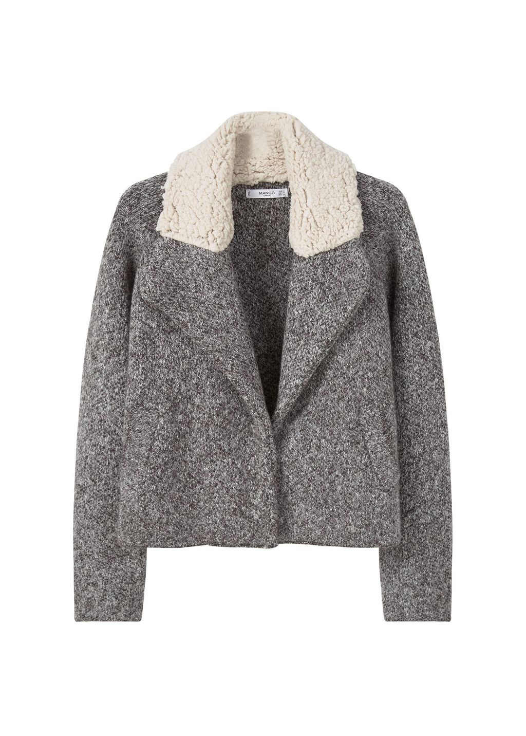 Faux Shearling Appliquejacket, Grey - pattern: plain; length: standard; fit: loose; style: single breasted; collar: standard lapel/rever collar; hip detail: fitted at hip; secondary colour: ivory/cream; predominant colour: mid grey; occasions: casual; fibres: acrylic - mix; sleeve length: long sleeve; sleeve style: standard; collar break: medium; pattern type: fabric; texture group: woven bulky/heavy; multicoloured: multicoloured; season: a/w 2016