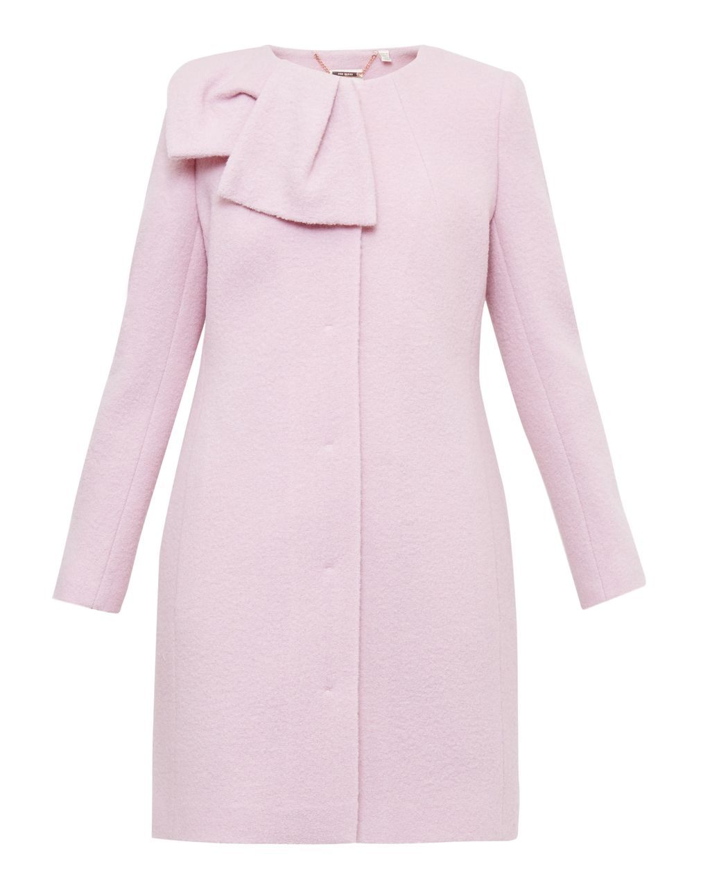 Ellmida Boiled Wool Coat, Blush - pattern: plain; length: below the bottom; bust detail: added detail/embellishment at bust; collar: round collar/collarless; style: single breasted; predominant colour: blush; occasions: casual; fit: tailored/fitted; fibres: wool - 100%; sleeve length: long sleeve; sleeve style: standard; collar break: high; pattern type: fabric; texture group: woven bulky/heavy; embellishment: bow; season: a/w 2016; wardrobe: highlight