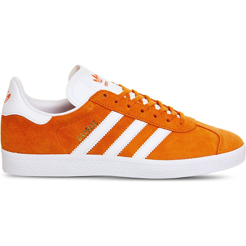 Gazelle Suede Trainers, Women's, Unity Orange White - secondary colour: white; predominant colour: bright orange; occasions: casual, creative work; material: suede; heel height: flat; toe: round toe; style: trainers; finish: plain; pattern: colourblock; season: a/w 2016; wardrobe: highlight