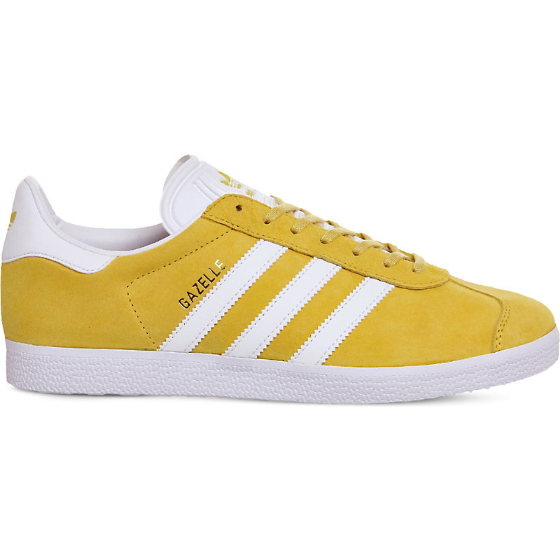 Gazelle Suede Trainers, Women's, Eqt Yellow White - predominant colour: yellow; occasions: casual; material: suede; heel height: flat; toe: round toe; style: trainers; finish: plain; pattern: plain; season: a/w 2016