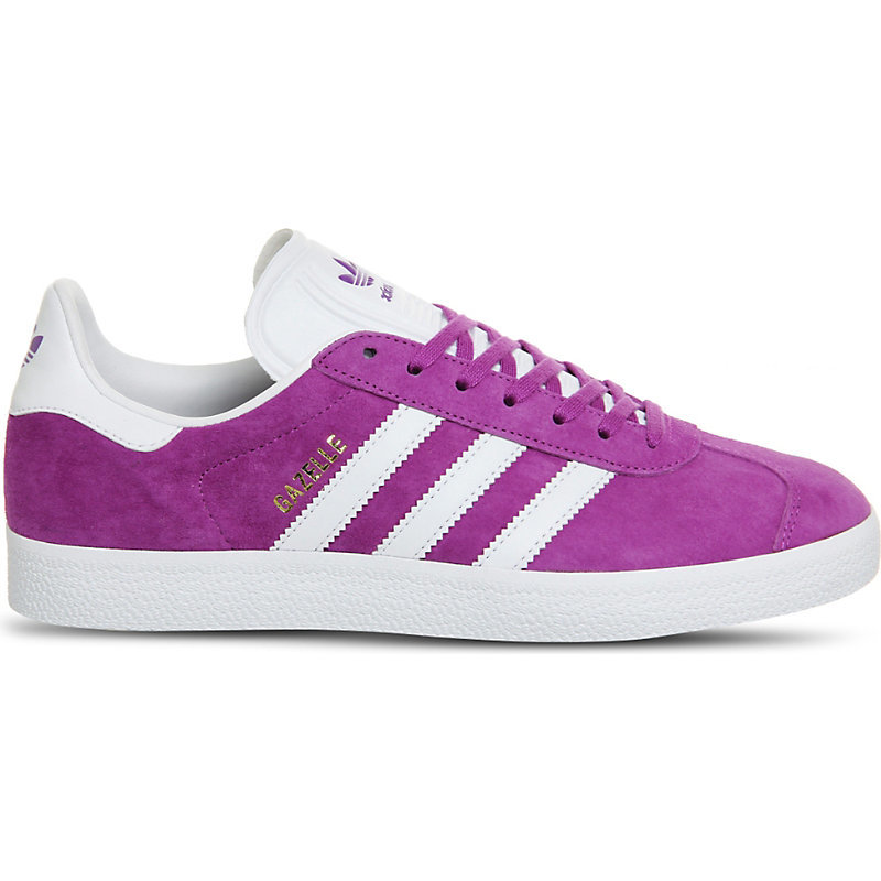 Gazelle Suede Trainers, Women's, Shock Purple White - predominant colour: magenta; occasions: casual, activity; material: suede; heel height: flat; toe: round toe; style: trainers; finish: plain; pattern: striped; season: a/w 2016