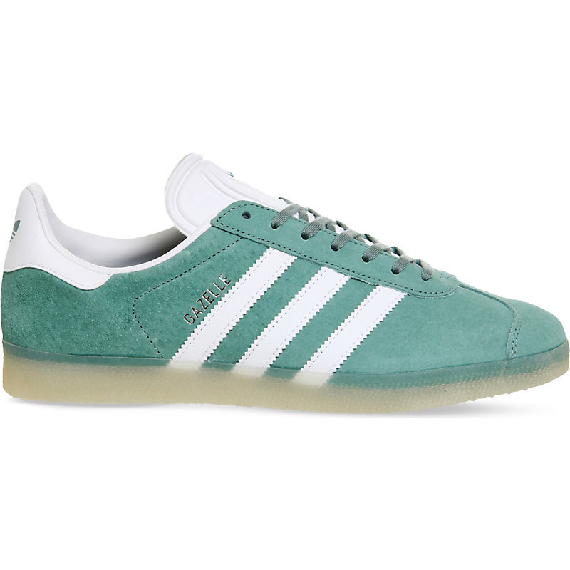 Gazelle Suede Trainers, Women's, Vapour Steel White - predominant colour: emerald green; occasions: casual, activity; material: suede; heel height: flat; toe: round toe; style: trainers; finish: plain; pattern: striped; season: a/w 2016