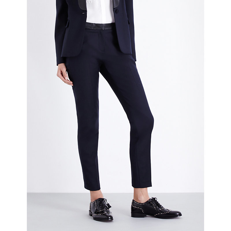 Piccolo Slim Fit High Rise Twill Trousers, Women's, Dark Blue/Gold - length: standard; pattern: plain; waist: mid/regular rise; predominant colour: navy; occasions: work; fibres: polyester/polyamide - mix; fit: slim leg; pattern type: fabric; texture group: woven light midweight; style: standard; wardrobe: basic; season: a/w 2016