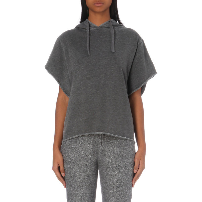 Short Sleeved Jersey Hoody, Women's, Size: Xs, Grey - neckline: v-neck; pattern: plain; back detail: hood; predominant colour: charcoal; occasions: casual, creative work; length: standard; style: top; fibres: cotton - mix; fit: loose; sleeve length: short sleeve; sleeve style: standard; pattern type: fabric; texture group: jersey - stretchy/drapey; wardrobe: basic; season: a/w 2016