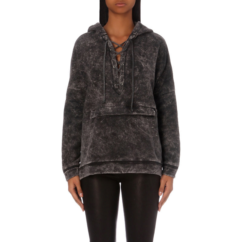 Acid Wash Jersey Hoody, Women's, Size: Xs, Grey - neckline: v-neck; pattern: plain; length: below the bottom; back detail: hood; predominant colour: charcoal; occasions: casual; style: top; fibres: cotton - mix; fit: loose; sleeve length: long sleeve; sleeve style: standard; pattern type: fabric; texture group: jersey - stretchy/drapey; season: a/w 2016