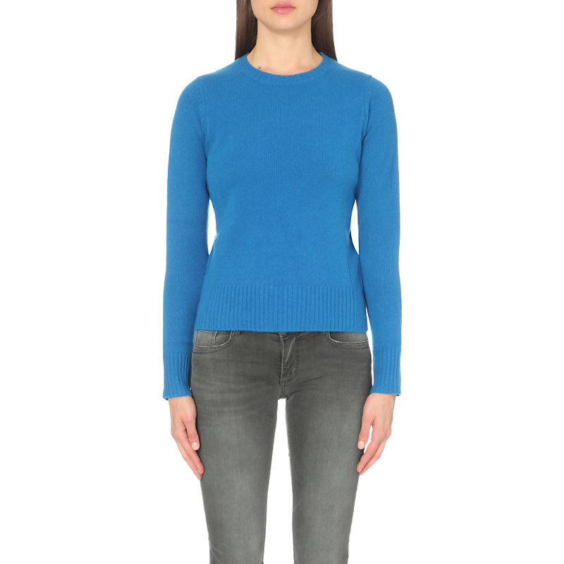 Magnet Cashmere Jumper, Women's, Size: Medium, Electric Blue - pattern: plain; style: standard; predominant colour: diva blue; occasions: casual, creative work; length: standard; fit: standard fit; neckline: crew; fibres: cashmere - 100%; sleeve length: long sleeve; sleeve style: standard; texture group: knits/crochet; pattern type: knitted - fine stitch; season: a/w 2016