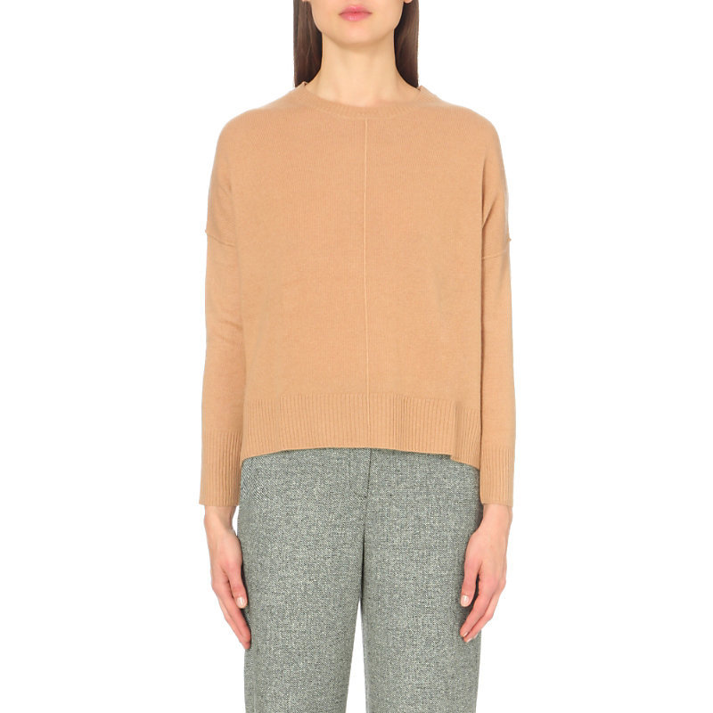 Magnifiqu Cashmere Jumper, Women's, Size: Small, Camel - pattern: plain; style: standard; predominant colour: camel; occasions: casual, creative work; length: standard; fit: loose; neckline: crew; fibres: cashmere - 100%; sleeve length: long sleeve; sleeve style: standard; texture group: knits/crochet; pattern type: knitted - fine stitch; wardrobe: investment; season: a/w 2016