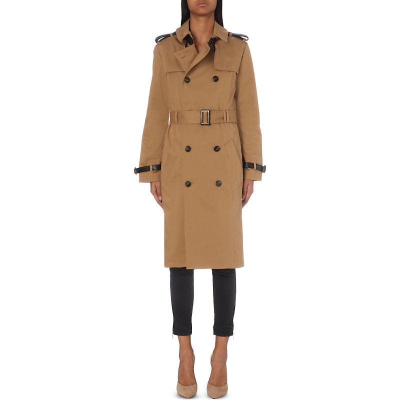Double Breasted Stretch Cotton Trench Coat, Women's, Camel - pattern: plain; style: trench coat; length: on the knee; collar: standard lapel/rever collar; predominant colour: mustard; occasions: casual, creative work; fit: tailored/fitted; fibres: cotton - stretch; hip detail: contrast fabric/print detail at hip; sleeve length: long sleeve; sleeve style: standard; collar break: medium; pattern type: fabric; pattern size: standard; texture group: woven light midweight; season: a/w 2016
