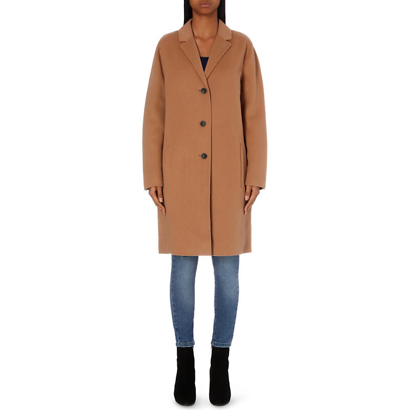 Longline Wool Coat, Women's, Black - pattern: plain; fit: loose; style: single breasted; collar: standard lapel/rever collar; length: mid thigh; predominant colour: camel; occasions: casual, creative work; fibres: wool - mix; sleeve length: long sleeve; sleeve style: standard; collar break: medium; pattern type: fabric; texture group: woven bulky/heavy; season: a/w 2016