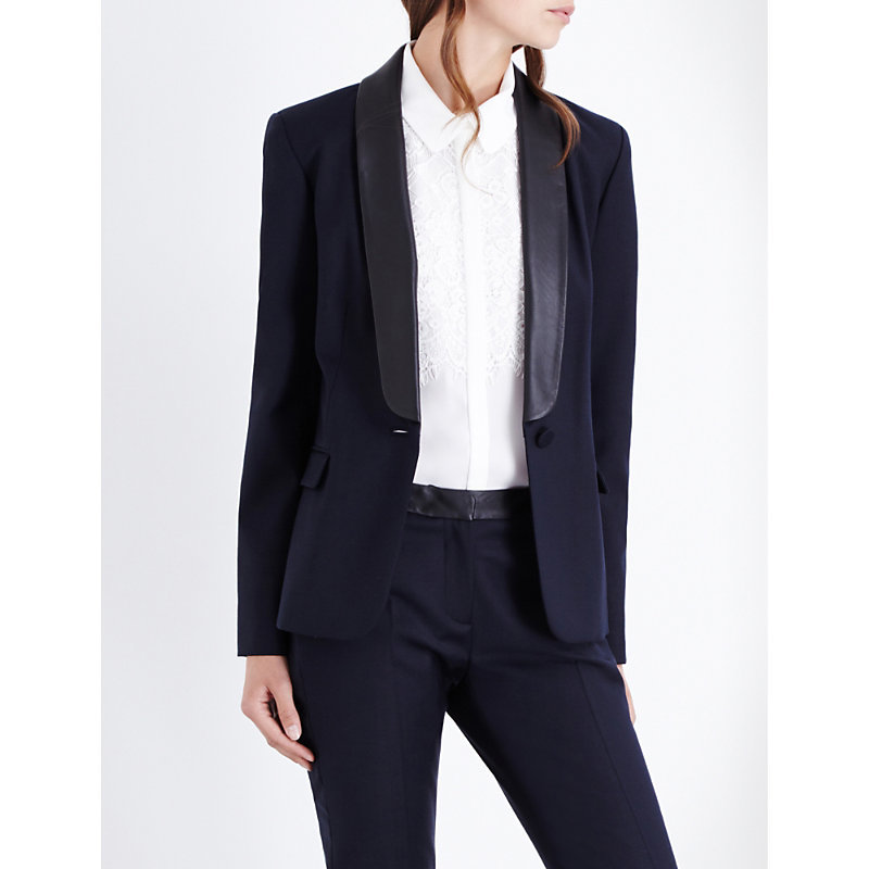 Velours Twill Jacket, Women's, Dark Blue/Gold - pattern: plain; style: single breasted blazer; collar: standard lapel/rever collar; predominant colour: navy; occasions: work; length: standard; fit: tailored/fitted; fibres: polyester/polyamide - stretch; sleeve length: long sleeve; sleeve style: standard; texture group: crepes; collar break: medium; pattern type: fabric; wardrobe: investment; season: a/w 2016