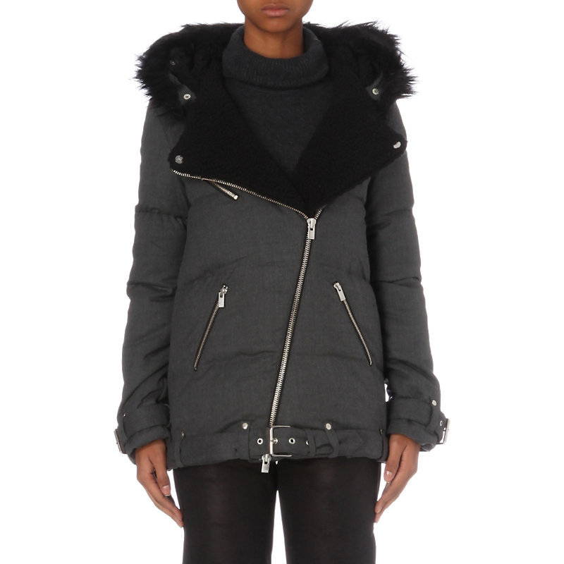 Faux Fur Detail Wool Blend Parka - sleeve style: puffed; length: below the bottom; fit: loose; style: parka; back detail: hood; predominant colour: charcoal; secondary colour: black; occasions: casual; fibres: polyester/polyamide - 100%; sleeve length: long sleeve; collar: fur; collar break: medium; pattern type: fabric; pattern size: standard; pattern: colourblock; texture group: other - bulky/heavy; embellishment: fur; season: a/w 2016; wardrobe: highlight