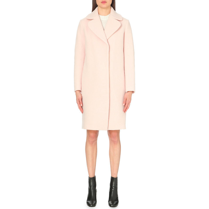 Gymon Wool Coat, Women's, Pink - pattern: plain; style: single breasted; collar: standard lapel/rever collar; length: mid thigh; predominant colour: blush; occasions: casual, creative work; fit: straight cut (boxy); fibres: wool - 100%; sleeve length: long sleeve; sleeve style: standard; collar break: medium; pattern type: fabric; texture group: woven bulky/heavy; season: a/w 2016