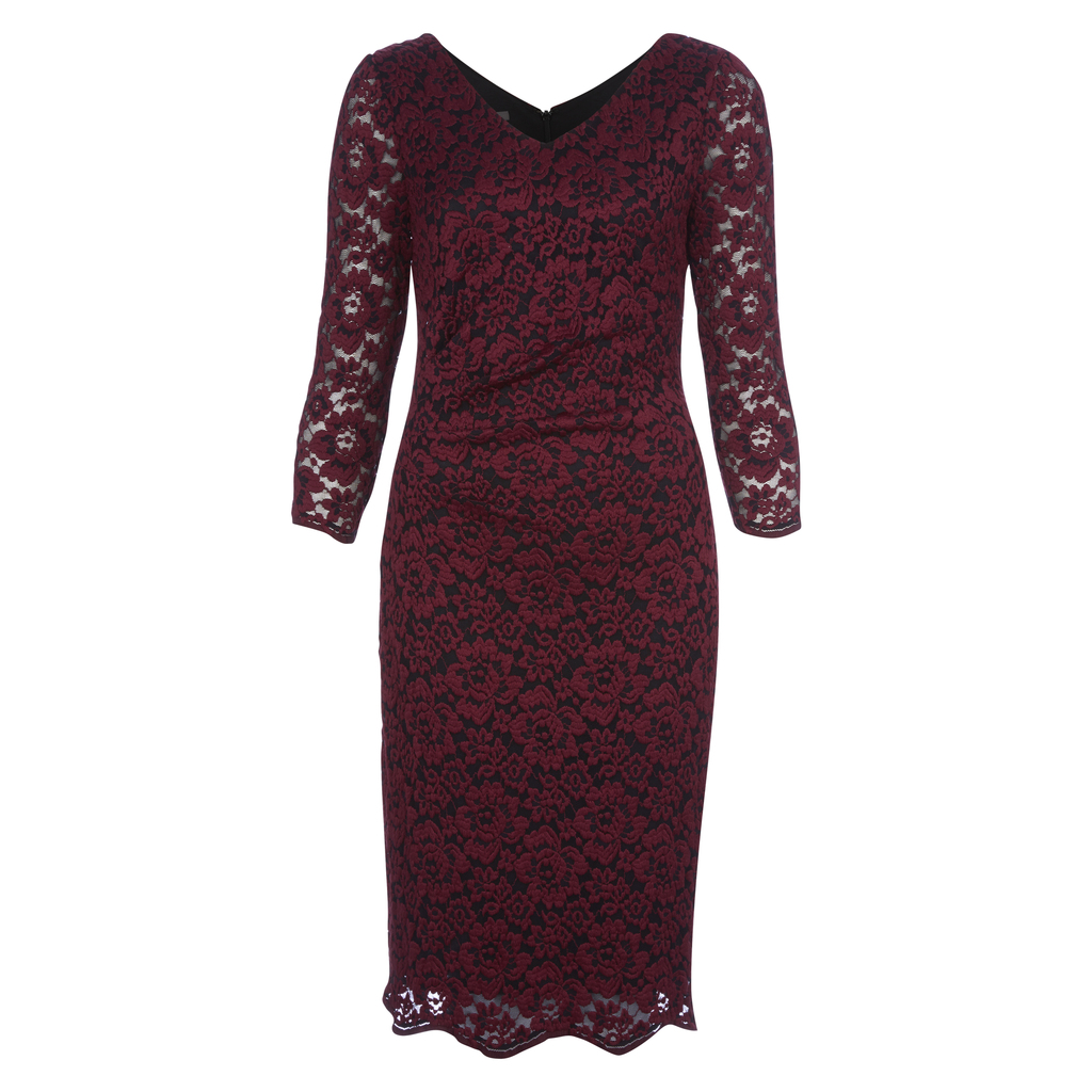 Lace Jersey Rouched Midi Dress - style: shift; neckline: v-neck; pattern: plain; predominant colour: burgundy; occasions: evening; length: on the knee; fit: body skimming; fibres: polyester/polyamide - stretch; sleeve length: 3/4 length; sleeve style: standard; texture group: lace; pattern type: fabric; season: a/w 2016; wardrobe: event