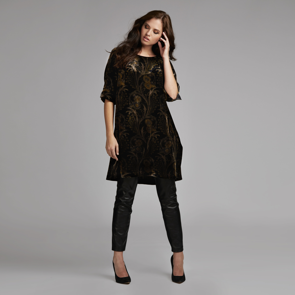 Printed Velvet Tunic Dress - style: tunic; fit: loose; secondary colour: gold; predominant colour: black; occasions: evening; length: on the knee; neckline: crew; sleeve length: half sleeve; sleeve style: standard; pattern type: fabric; pattern size: big & busy; pattern: florals; texture group: velvet/fabrics with pile; fibres: viscose/rayon - mix; multicoloured: multicoloured; season: a/w 2016; wardrobe: event