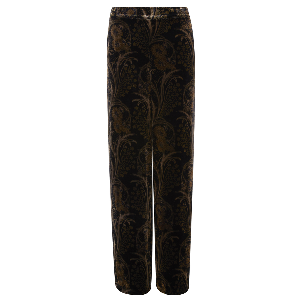 Printed Velvet Palazzo Trousers - length: standard; pattern: plain; waist: high rise; predominant colour: chocolate brown; occasions: evening, creative work; fit: straight leg; pattern type: fabric; texture group: velvet/fabrics with pile; style: standard; fibres: viscose/rayon - mix; season: a/w 2016; wardrobe: highlight