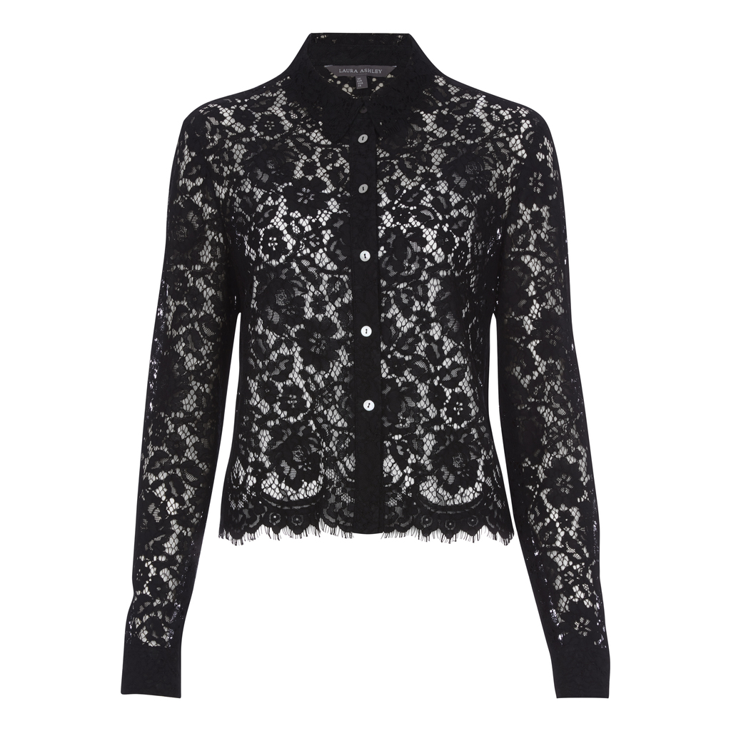 Lace Blouse - neckline: shirt collar/peter pan/zip with opening; style: blouse; predominant colour: black; occasions: evening, creative work; length: standard; fibres: polyester/polyamide - mix; fit: tight; sleeve length: long sleeve; sleeve style: standard; texture group: lace; pattern type: fabric; pattern: patterned/print; embellishment: lace; pattern size: big & busy (top); season: a/w 2016