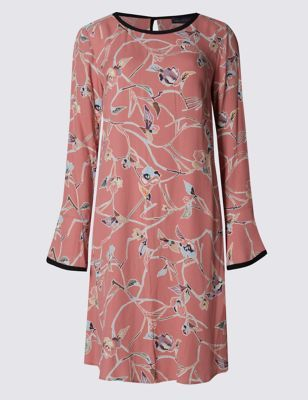 Printed Long Sleeve Shift Dress - style: tunic; length: mid thigh; secondary colour: light grey; fit: straight cut; fibres: viscose/rayon - 100%; neckline: crew; sleeve length: long sleeve; sleeve style: standard; texture group: crepes; pattern type: fabric; pattern size: standard; pattern: florals; predominant colour: dusky pink; occasions: creative work; season: a/w 2016; wardrobe: highlight
