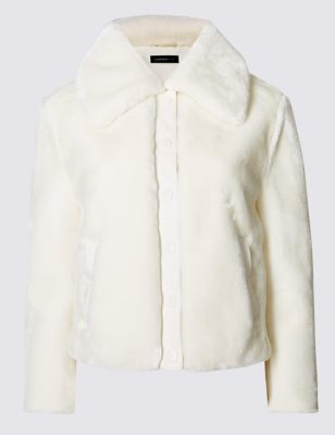 Faux Fur Lined Jacket - pattern: plain; length: standard; fit: loose; hip detail: draws attention to hips; predominant colour: ivory/cream; occasions: casual; fibres: polyester/polyamide - 100%; style: fur coat; collar: shirt collar/peter pan/zip with opening; sleeve length: long sleeve; sleeve style: standard; texture group: fur; collar break: high; pattern type: fabric; season: a/w 2016; wardrobe: highlight