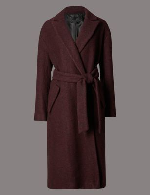 Boucle Belted Overcoat With Wool - pattern: plain; fit: loose; style: wrap around; collar: standard lapel/rever collar; predominant colour: burgundy; occasions: casual; length: below the knee; waist detail: belted waist/tie at waist/drawstring; sleeve length: long sleeve; sleeve style: standard; collar break: medium; pattern type: fabric; texture group: woven bulky/heavy; fibres: viscose/rayon - mix; season: a/w 2016