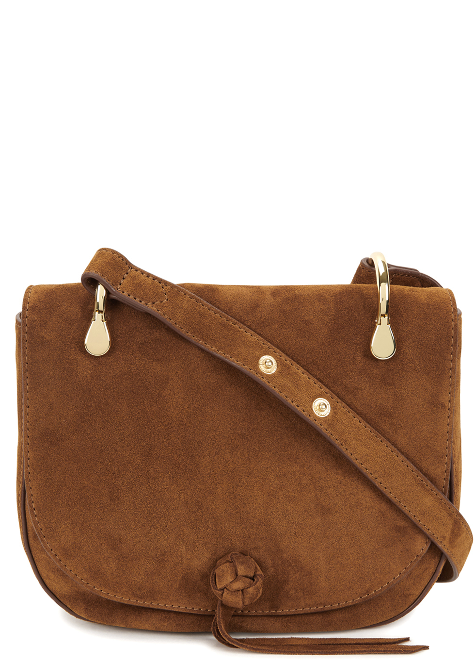 Zoe Tawny Suede Shoulder Bag - predominant colour: tan; occasions: casual, creative work; type of pattern: standard; style: saddle; length: across body/long; size: standard; material: suede; pattern: plain; finish: plain; season: a/w 2016; wardrobe: highlight