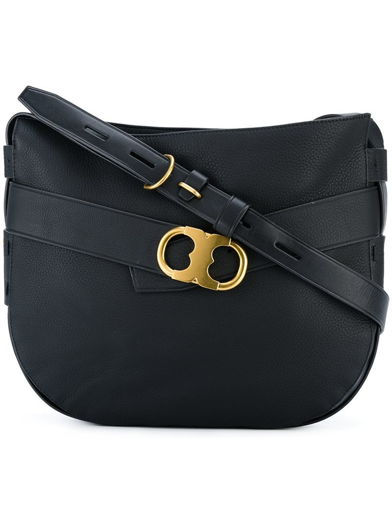 Metallic Buckle Shoulder Bag, Women's, Black - secondary colour: gold; predominant colour: black; occasions: casual, work, creative work; type of pattern: standard; style: satchel; length: shoulder (tucks under arm); size: standard; material: leather; pattern: plain; finish: plain; wardrobe: basic; season: a/w 2016